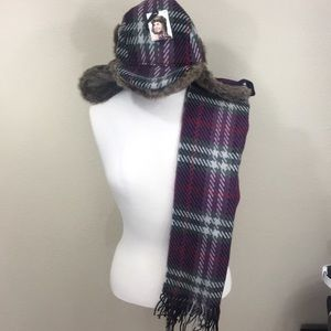 [NWT] D&Y Purple Gray Plaid Cashmere Hat and Scarf